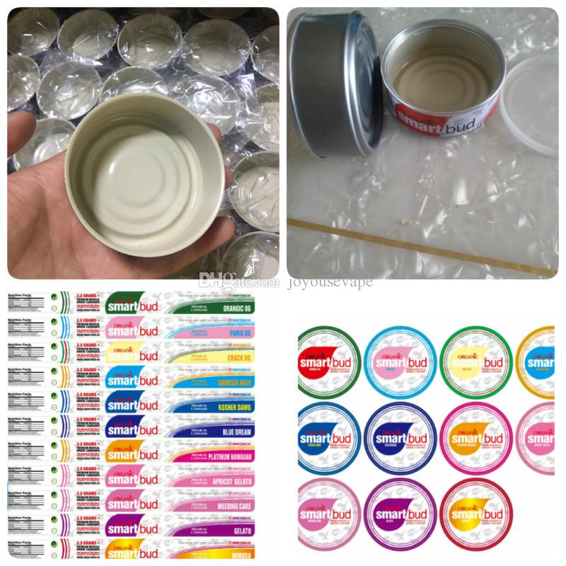 15 Flavors SmartBud Presstin Tuna Tin Cans 3 5 gram Smell proof Smart bud  jar tank dry herb flower Packaging with 15 Flavor Stickers Lables