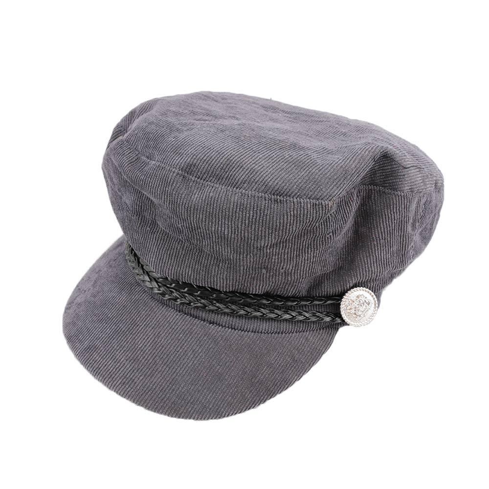Spring Autumn Fashion Women Casual Warm Corduroy Newsboy Caps Simple Vintage Solid Button Painter Hat