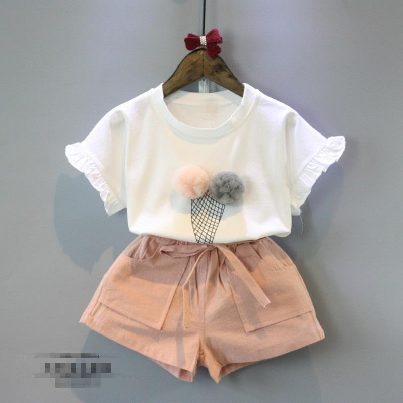 2pcs girls beautiful clothing set kids summer white t shirt and pink short set baby casual girl cute ice cream pattern clothes