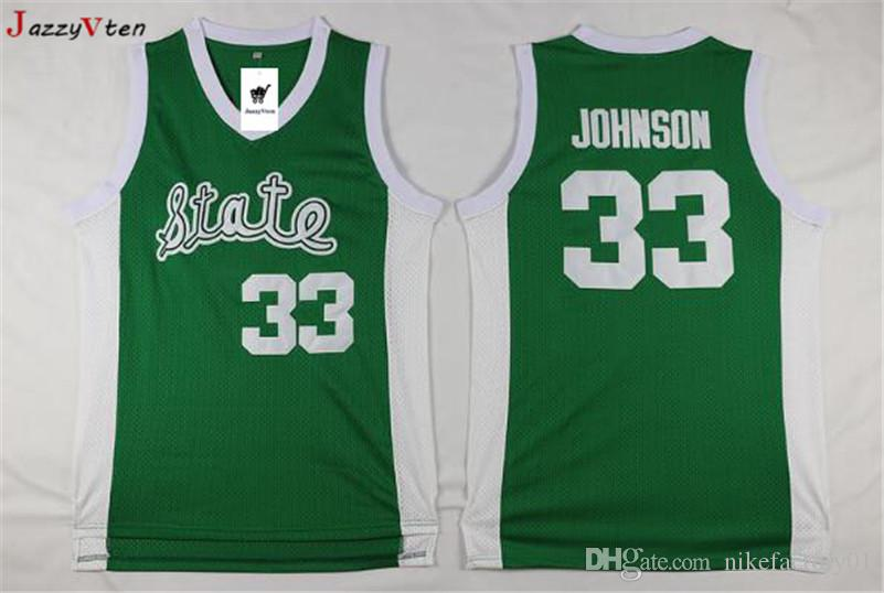 541e28be 2019 HOT Sell Green Men 33 Earvin Johnson Michigan State Jersey Johnson  College Jersey Embroidery Retro High School Throwback Basketball Jersey  From ...