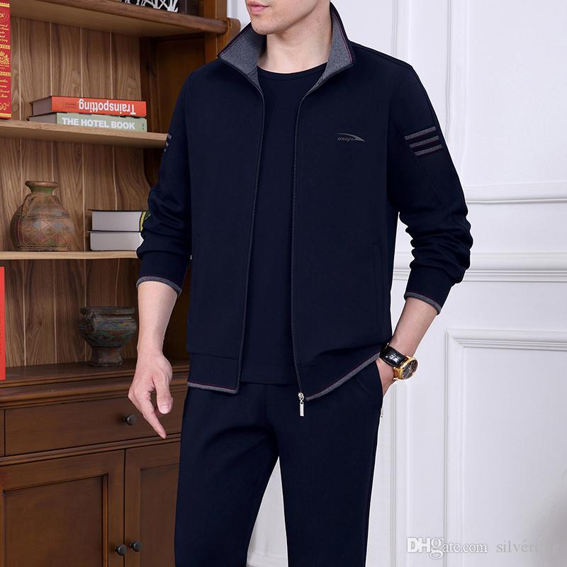 Men's Training Clothes 211 Plus Size 3 Pieces Tracksuits For Men Long Sleeve Full Zipper Jackets Short Sleeve T Shirt Running Pants 5XL