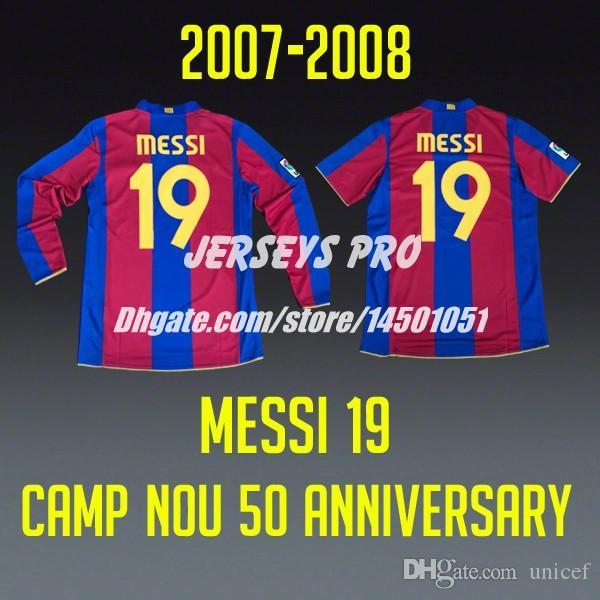 competitive price 9a31b 37fdf Messi 19 Camp Nou 50 anniversary home retro Soccer Jerseys Football Shirts  2007 2008 Ronaldinho Xavi Iniesta Puyol Eto o Rafael Marquez