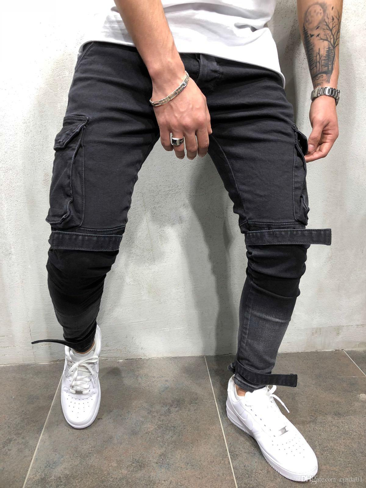 f8eab6130811 2019 Mens Black Denim Slim Fit Jeans Male Skinny Pencil Pants Casual Cargo  Pants Trousers With Pockets Straps From Cinda01, $48.74 | DHgate.Com