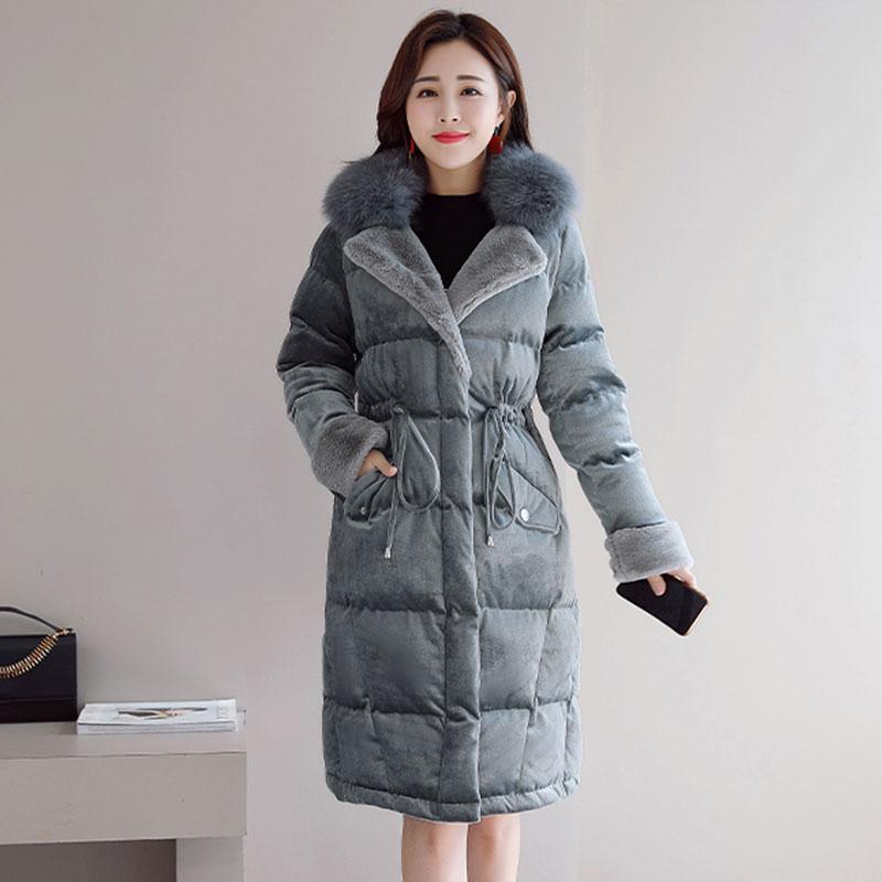 online store 36121 bbfe4 Cappotto di velluto di cotone color oro femminile di spessore caldo da  donna invernale piumino lungo cappotto di pelliccia di volpe collare di  lana ...