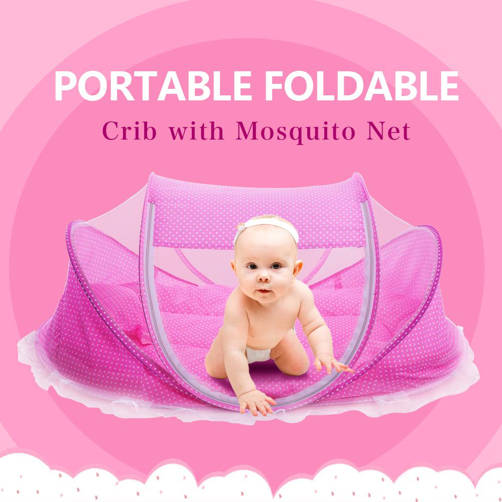 5pcs/set Baby Crib 0-3 Years Baby Newborn Sleep Travel Bed Foldable With Pillow Mat Set Portable Folding Pad Crib With Netting
