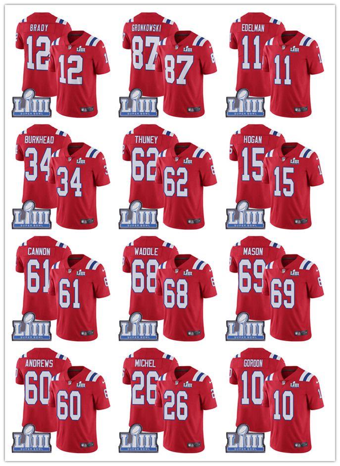 b4a381914 12 Tom Brady New Patriots Jersey 87 Rob Gronkowski 11 Julian Edelman 10  Josh Gordon 14 Cooks 15 Hogan 92 Harrison 2019 Super Bowl LIII Black And  White ...