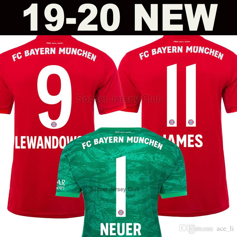 new products c2205 292b3 2019 2020 Thailand Bayern Munich LEWANDOWSKI soccer jersey Men Kids kits  JAMES MULLER ROBBEN KIMMICH HUMMELS 19 20 goalkeeper football shirt