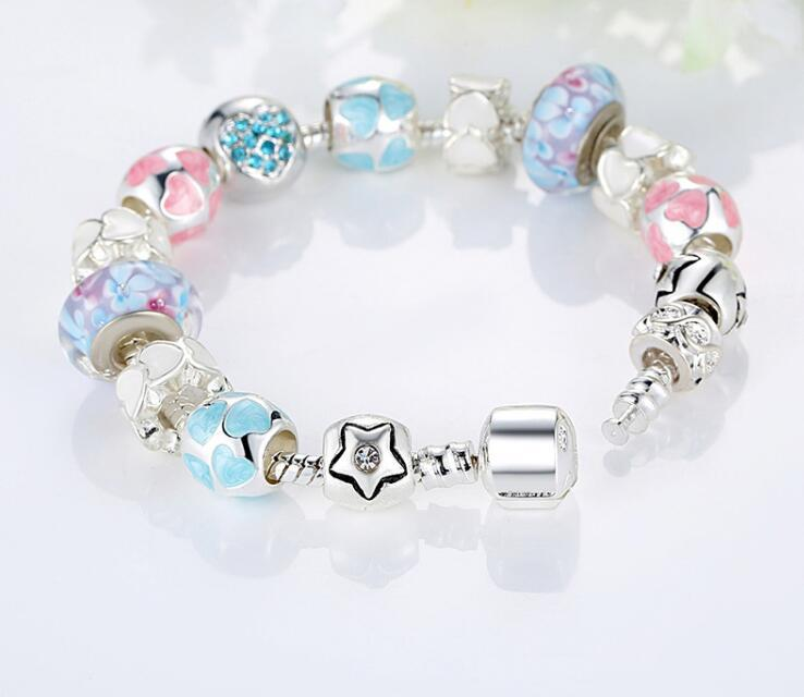 Fine Tibetan silver Beads Bracelet Pandora Charms heart-shaped Bracelet High-end Jewelry Boutique Diy Macroporous Glass Bead Bracelet K3552