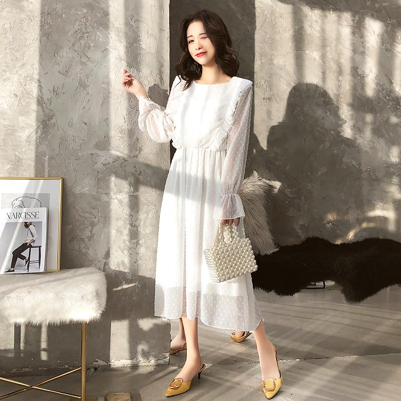 Bgteever Ruffles Polka Dot Women Chiffon Dress Elastic Waist Flare Sleeve Female Long Vestidos Retro A-line Women Dress Q190509
