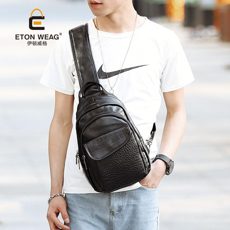 Men's small chest bag trend crocodile tattoo shoulder bag casual fashion travel