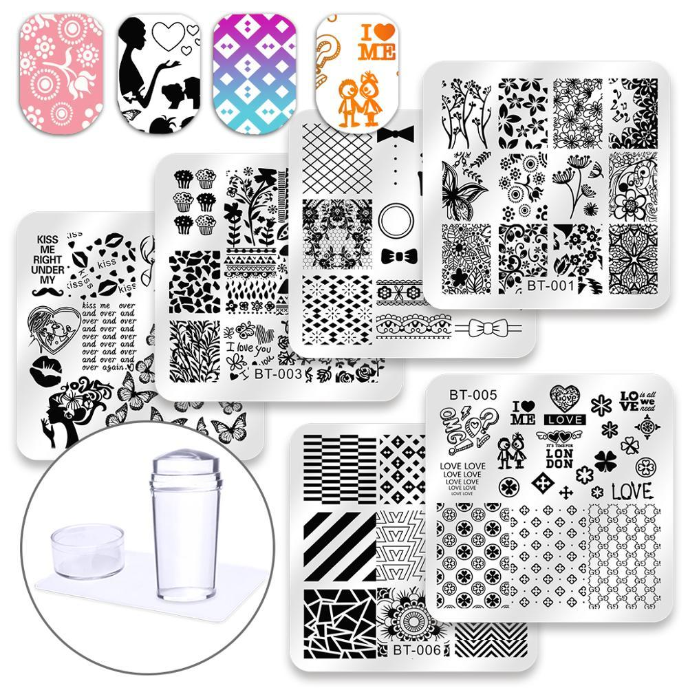 art stamp template Biutee 6 Pcs Square Nail Stamping Plates Set Lace Flower Animal Pattern Nail Art Stamp Template Image Plate Stencils