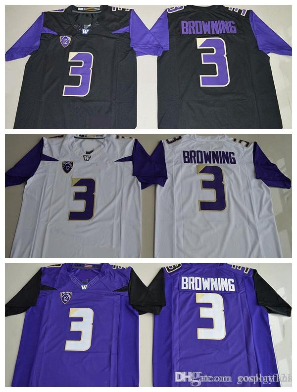 new product ffe32 adbde Washington Huskies Mens 3 Jake Browning Jersey Stitched Purple Black White  Jake Brownin College Football Jerseys University Football Shirts