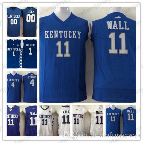newest b2ff6 95654 NCAA Kentucky Wildcats Basketball Jerseys 11 Wall 0 Delk 1 Booker 4 Rondo  Stitched white blue College Basketball Hot Sale Jersey