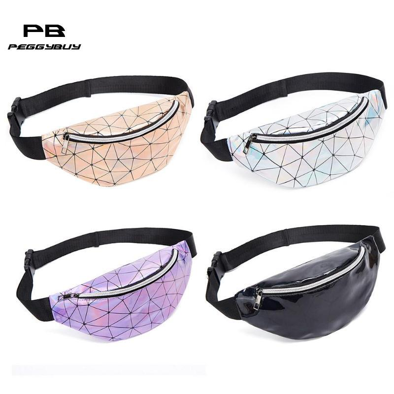 Geometric Holographic Waist Bags Women Fanny Belt Packs Chest Phone Pouch