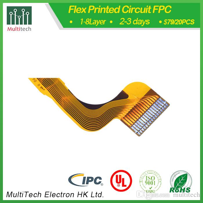 2 Layers FPC assmebly solder finishd low price 3days delivery by multitech  China manufacturer yellow coverlay ENIG finished