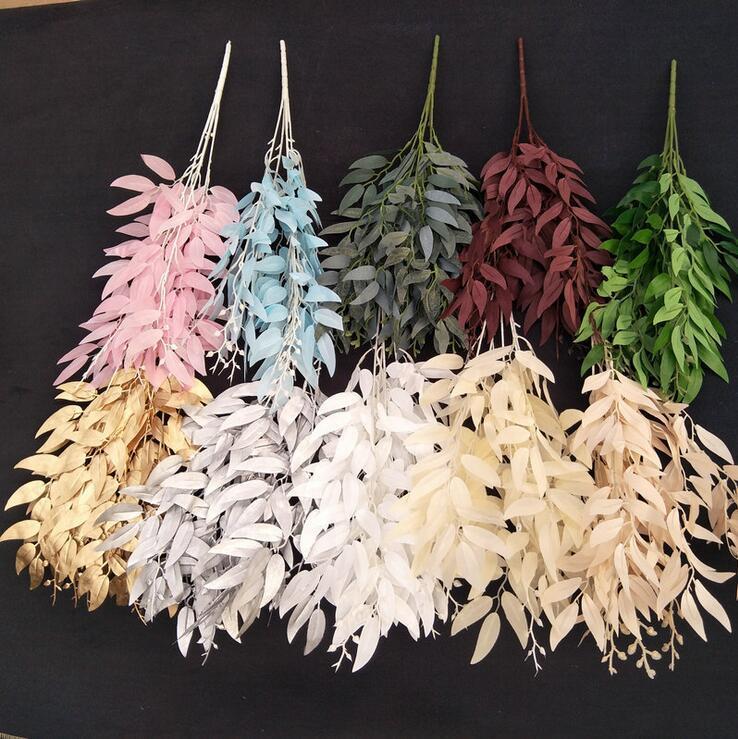 Feuilles artificielles Bouquet Faux Saule Jungle Mariage Toile De Fond Décoration De Noël Faux Feuillage Vigne Partie Décor À La Maison Plante De Noël