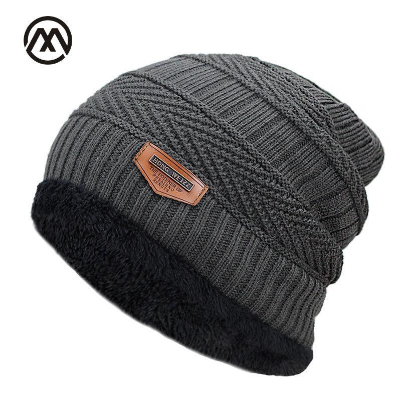 e1f2c7e9031 New Men s Winter Fall Fashion Black Ski Hats Thick Warm Hat Cap ...
