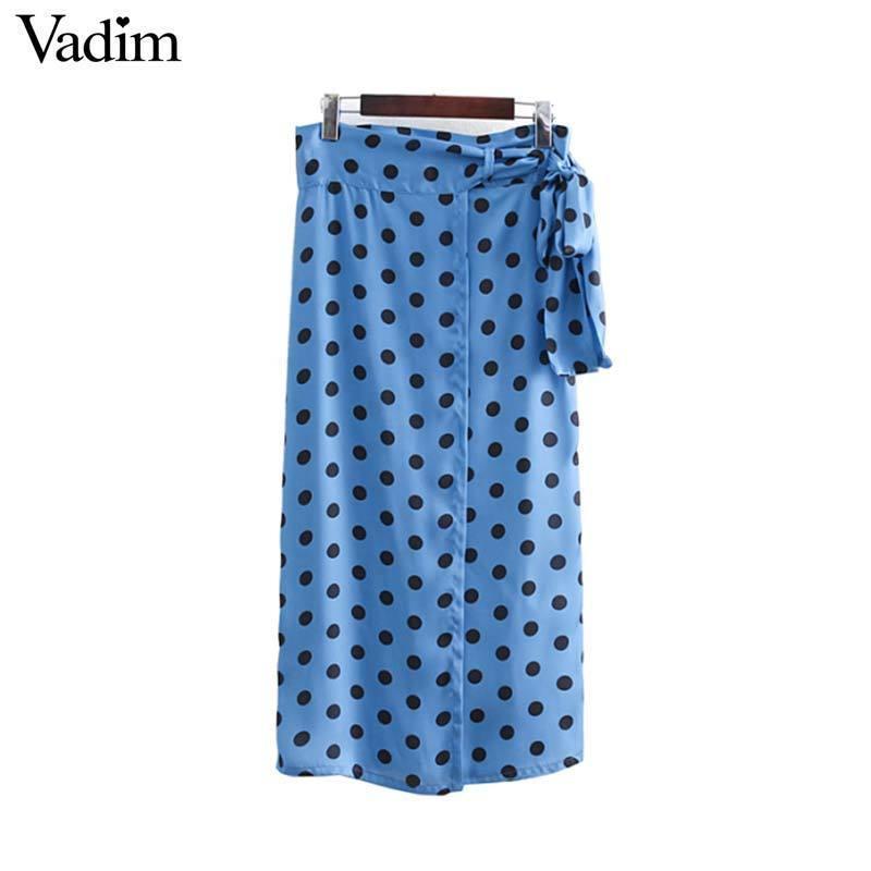 23fc9d5e0 Vadim Femmes Chic Dots Imprimer Jupes Foulard Bleu Faldas Mujer Nœud  Papillon Ceinture Split Femme Casual Droite Mi-mollet Jupes Ba389 Y190428