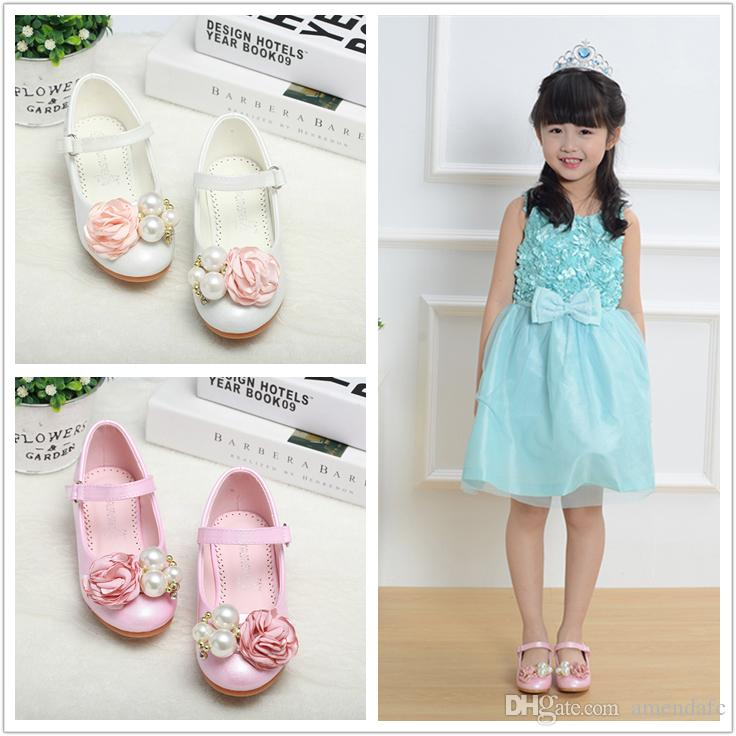 Girl's Round Toe Closed Toe Leatherette Heel Flats Flower Girl Shoes Factory wholesale kids casual high heels shoes 707-48