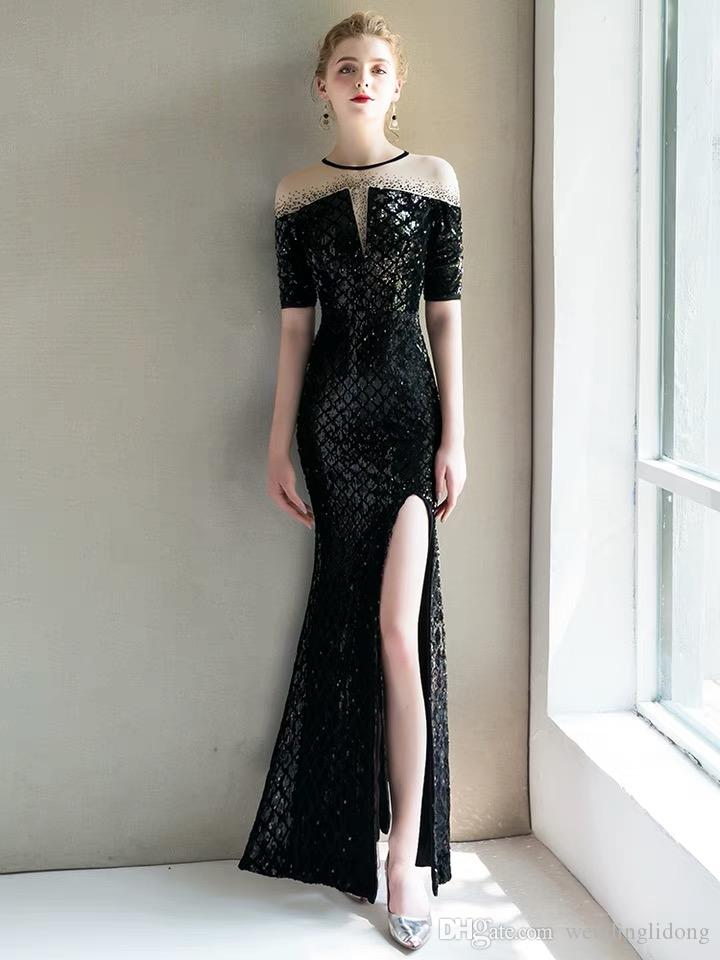 9cfd672088 Banquet evening dress black 2018 new noble elegant temperament thin dinner  host fish tail long socialite