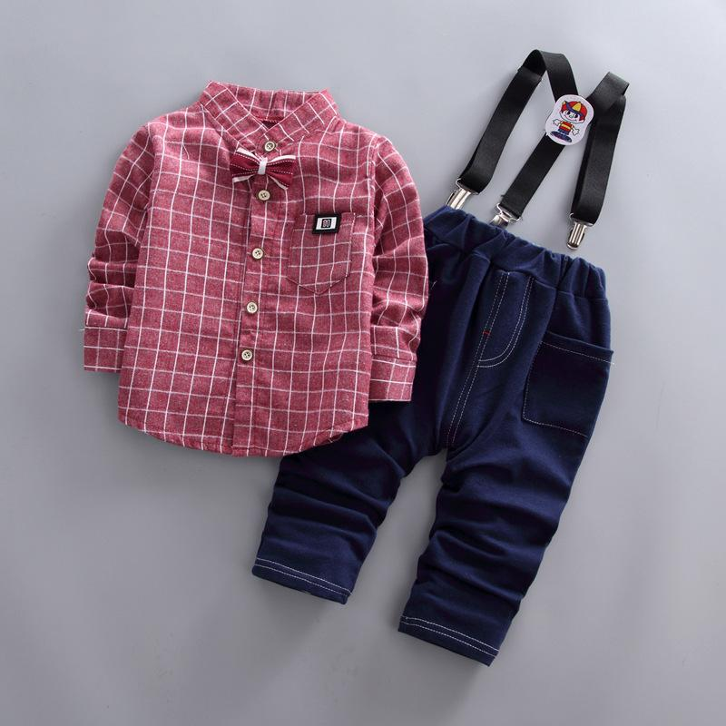 8b291072d29e good quality Children cotton gentleman clothing set long-sleeved shirt+Bib  pants 2pcs boys autumn new Bow tie plaid pattern clothes