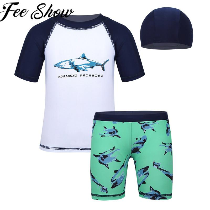 2f44ddba7b ... 3b752dfcd62e5 2019 Toddler Boys Swimsuit Shark Floral Printed Tops With  Bottoms Swimming Cap Set Swimwear Children ...