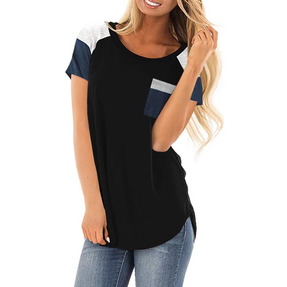 a18d5b5136c Summer Color Block Short Sleeve Round Neck Women T Shirt Tunic Top With  Pocket Cheap T Shirts Long Sleeve T Shirts From Nihuyg, $25.46  DHgate.Com