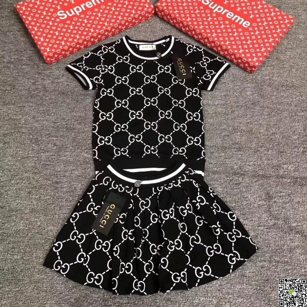 c6b6417328cf7 Girl Suit Summer Korean Children Dress Pure Cotton Short Sleeve Twinset New  Pattern In Will Child Letter Stripe Dress baby clothing set 0324