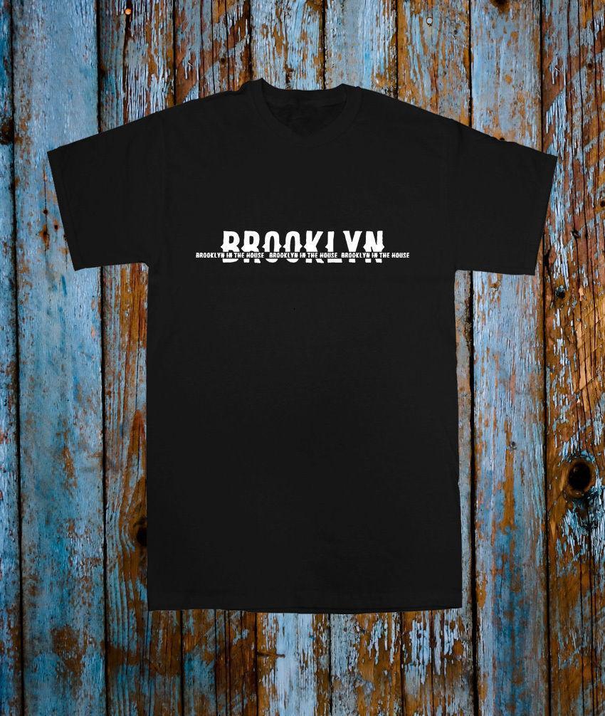 ff5449d59b8 BROOKLYN IN THE HOUSE USA POPULAR MUSIC TEE T SHIRT TOP BLACK WHITE TUMBLR  Printing Casual T-Shirt Men'S Tees Top Tee