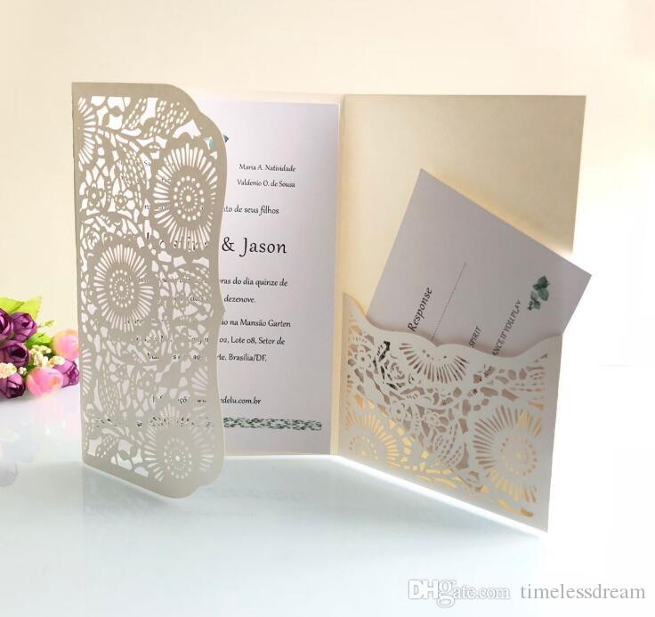 5 Colors Tri-fold pocket wedding invitation card free customized printing cards modern laser cut party invites cards with envelope