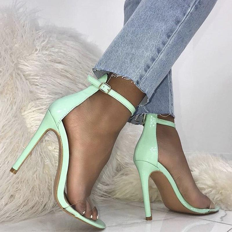 Transparent Toe 2018 New Brand Sexy Ankle Sandals Peep Buckle Western Women Girl Pvc Shoes Style Lady Fashion High Heel cTJlF3K1