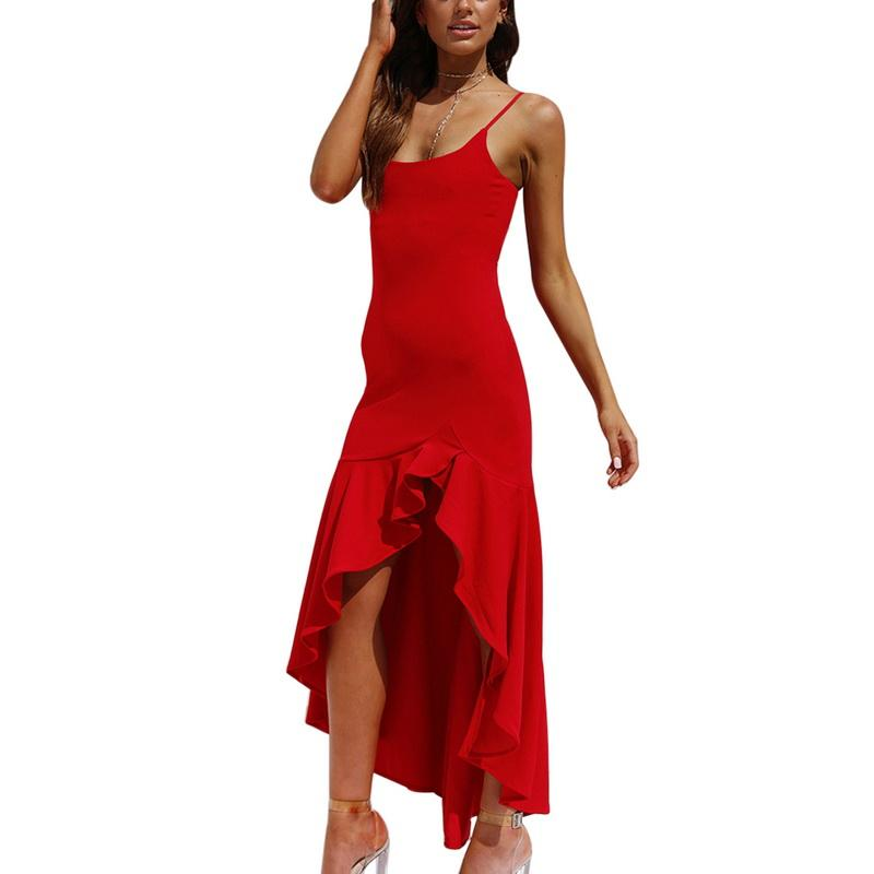 df870c2aa9a52 WENYUJH Bohemia Irregular Ruffles Summer Dress Women Sexy Spaghetti Strap  Dress Bodycon Fashion Party Club Long Dresses Vestidos