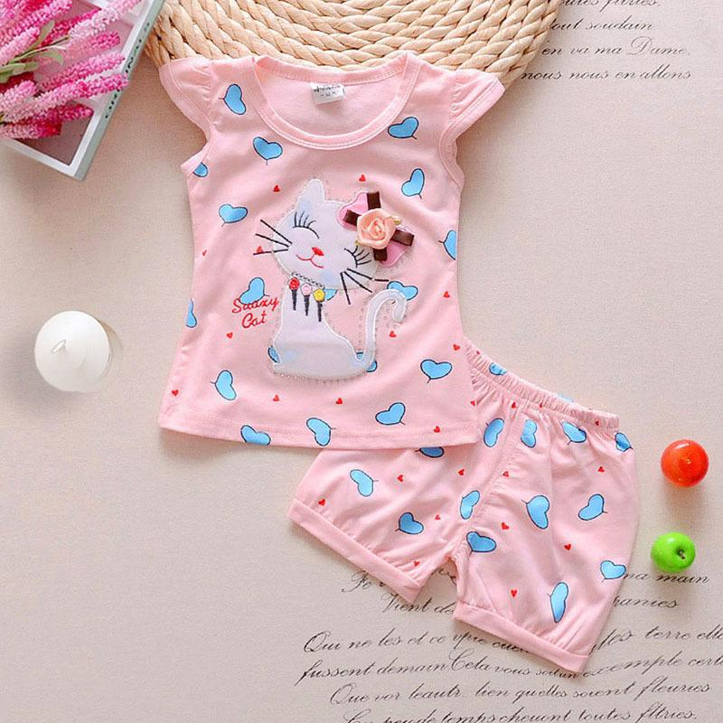 caf2c4d63a145 good quality summer baby girls Infant clothes toddler kids casual clothing  sets cartoon 2pcs cute cat clothes sets girls summer suit