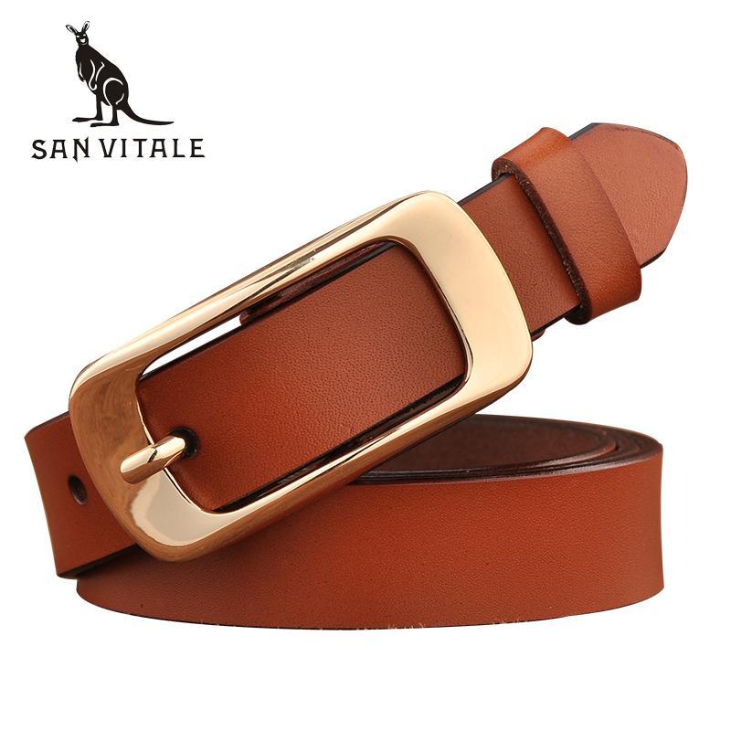 SAN VITALE New Designer Women S Belts Fashion Genuine Leather Brand Strap  Female Waistband Pin Buckles Fancy Vintage For Jeans Belts Money Belt From  ... 98391aa97