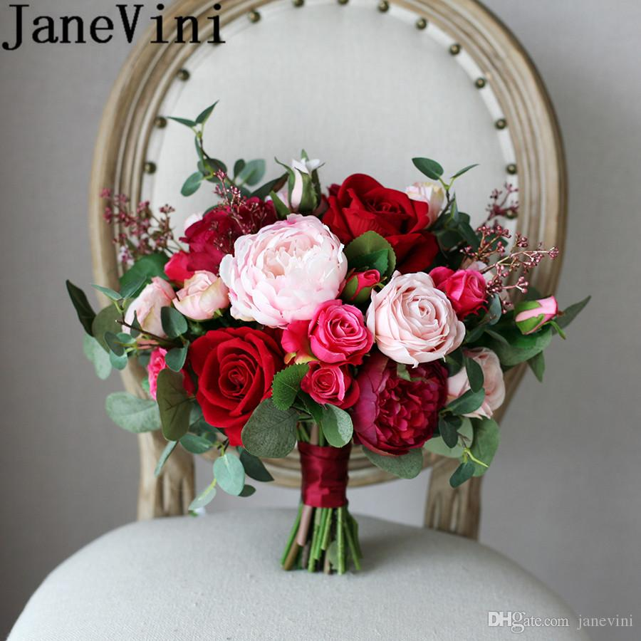 Red Rose Wedding Bouqet.Janevini Chinese Red Rose Wedding Bouquet For Bride Silk Bridal Holding Flowers Artificial Pink Peony Brooch Bouquet Fleur Artificielle 2019