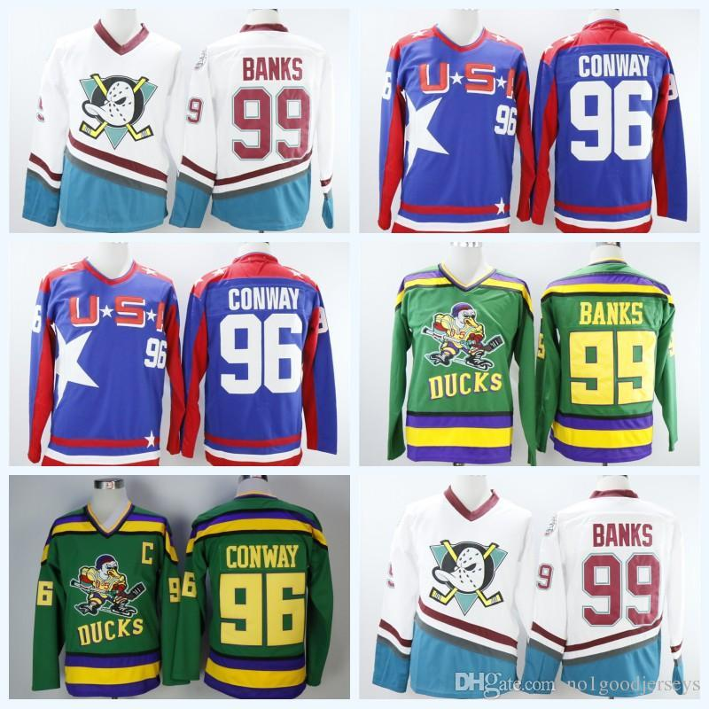 2019 Best Sell All Star 99 Adam Banks 96 Charlie Conway Blue Hockey Jersey  The Mighty Ducks Of Anaheim Men Movie Ice Hockey Jersey Green From  Bellinger 3c7d537d5
