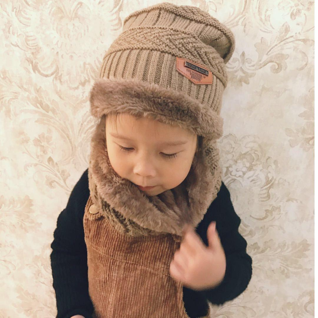 2019 Thick Wool Hat Children With Velvet Winter Hat Two Pieces Of Scarf  Boys And Girls Collar +Hat From Lrwkids c377b614808