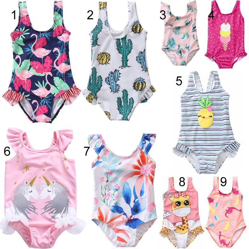44cbc282d2 Cheap Little Girl One Piece Bikini Cute Baby Girl Ruffle Bathing Suits