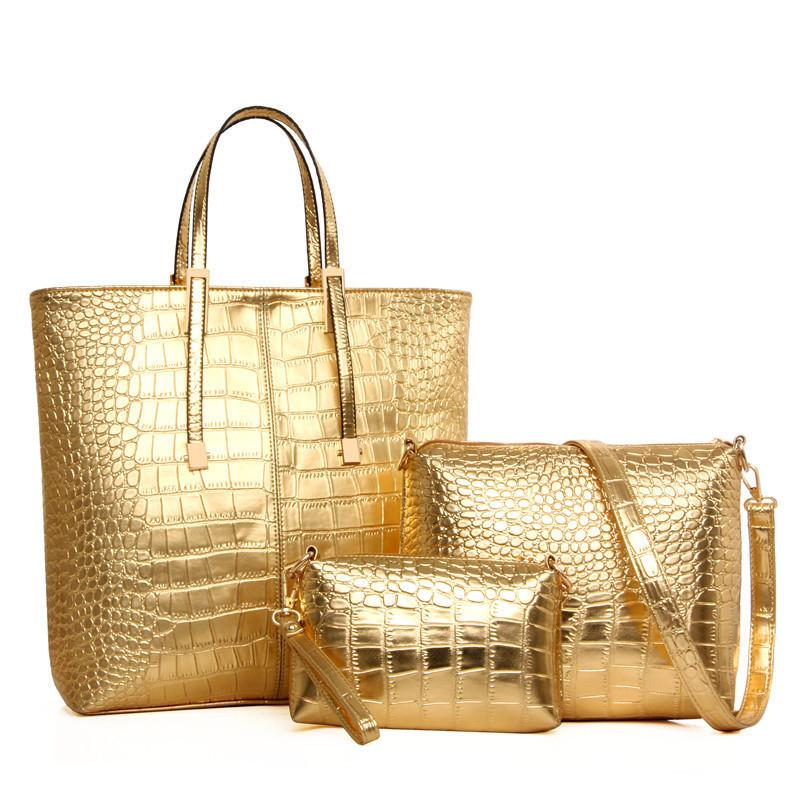 good quality 3pcs/set Large Capacity Shoulder Bag For Women Fashion Gold Crocodile Leather Handbag Lady Gold Silver Big Tote Bag