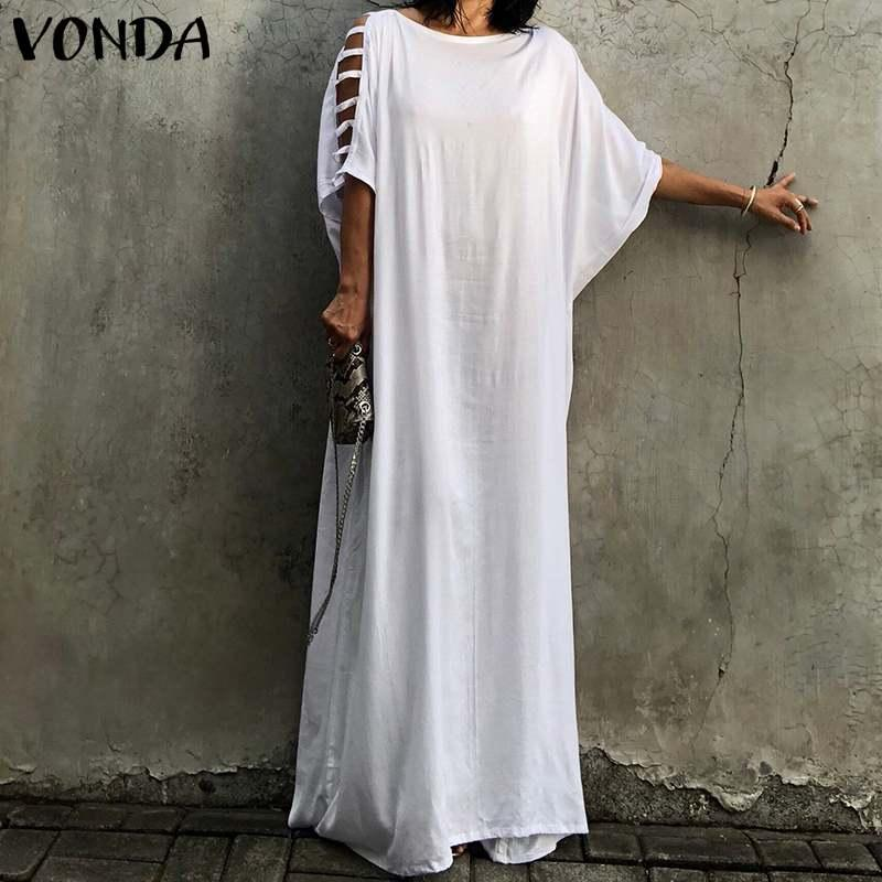 33359c4864 VONDA Women Summer Holiday Dress 2019 Sexy Off Shoulder Half Batwing Sleeve  Hollow Out White Long Dress Spring Casual Vestidos Dresses For Evening  Party ...
