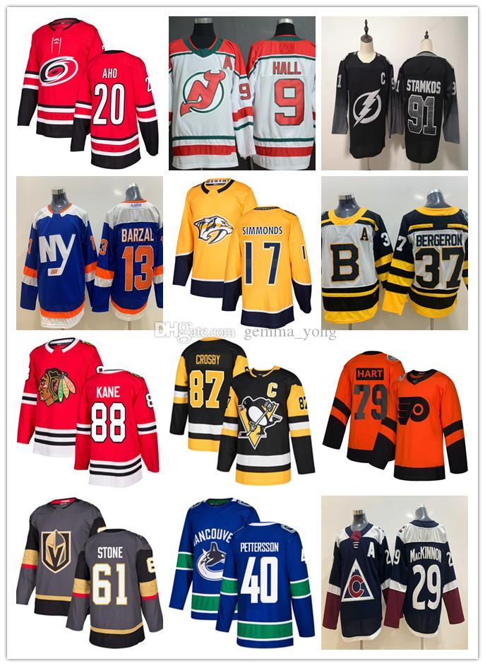 2019 camisetas de hockey Barato Maple Leafs Blackhawks Golden Knig Canucks Bules Flames Gaudreau Elias Pettersson Mark Stone Steven Stamkos Crosby
