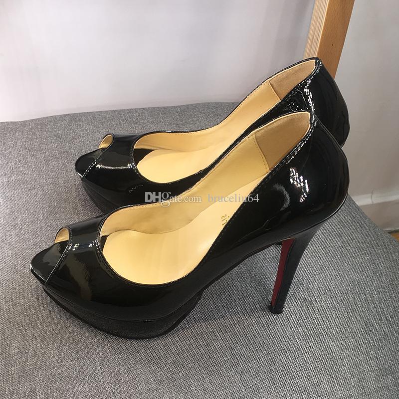 42b894f3e With Box Designer Classic Women High Heels Platform Shoes Pumps Nude And Black  Patent Leather Peep Toe Women Dress Shoe Wedding Sandals Shoe Cheap Shoes  ...