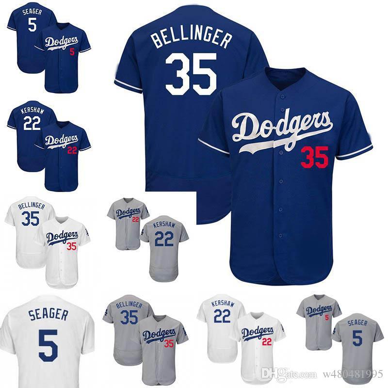 quality design 319ec 6304c 5 Corey Seager Jersey 22 Clayton Kershaw 35 Cody Bellinger Los Angeles Blue  Grey White Dodgers Cool Flex Baseball Jerseys