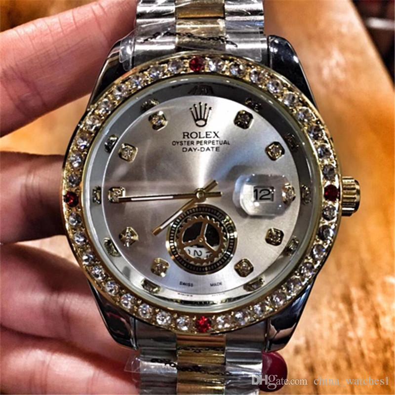 Compre Marca De Lujo Suiza Reloj De Moda A Prueba De Agua Relojes De Mujer  De Acero Inoxidable Para Hombre Reloj De Cuarzo Oro Casual Negocios Relojes  ... e69f8bffb920