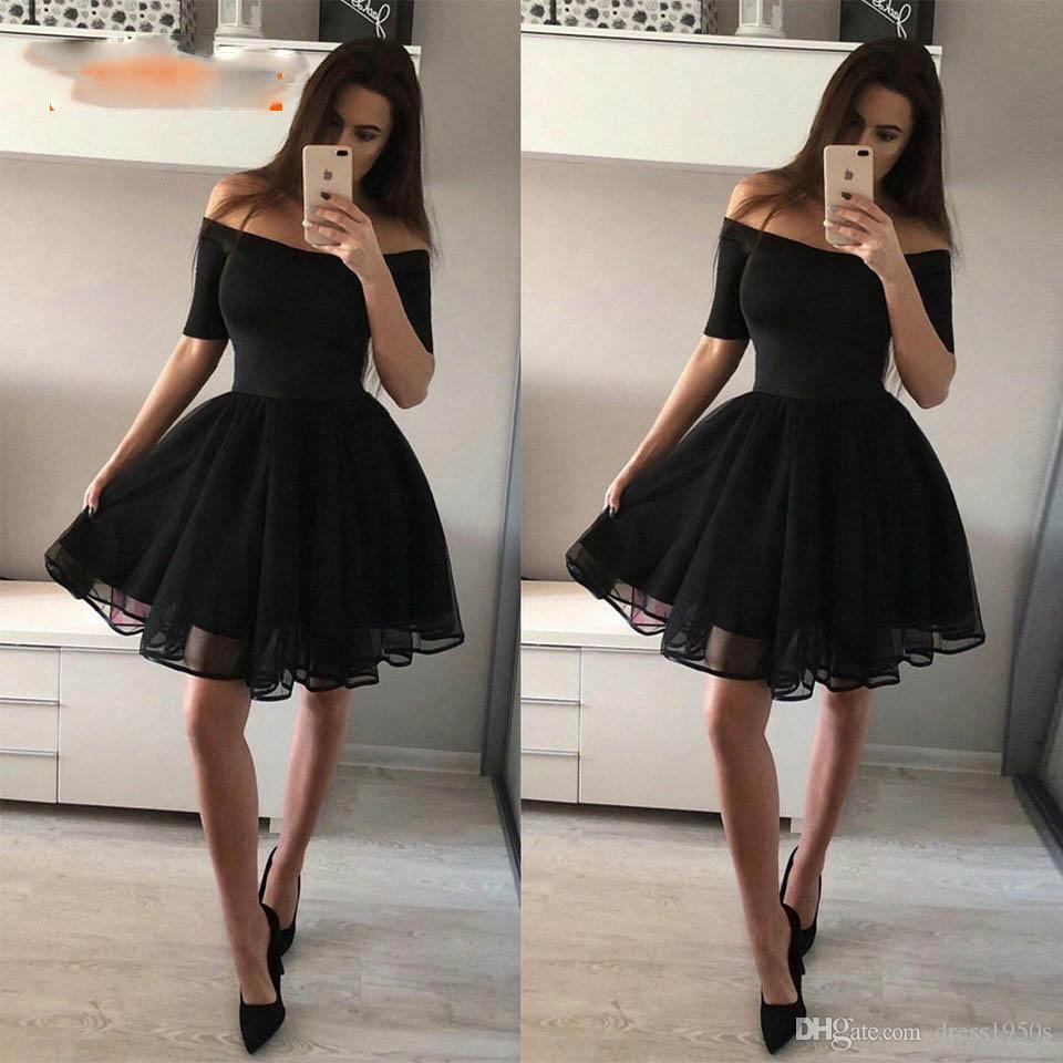 d97d2d2fe84 Fashion Black Short Prom Dresses 2019 Sexy Prom Dress Women Boat Neck Tulle  Zipper Knee Length Girl Formal Homecoming Party Gown Dress Sexy Dress Shop  ...