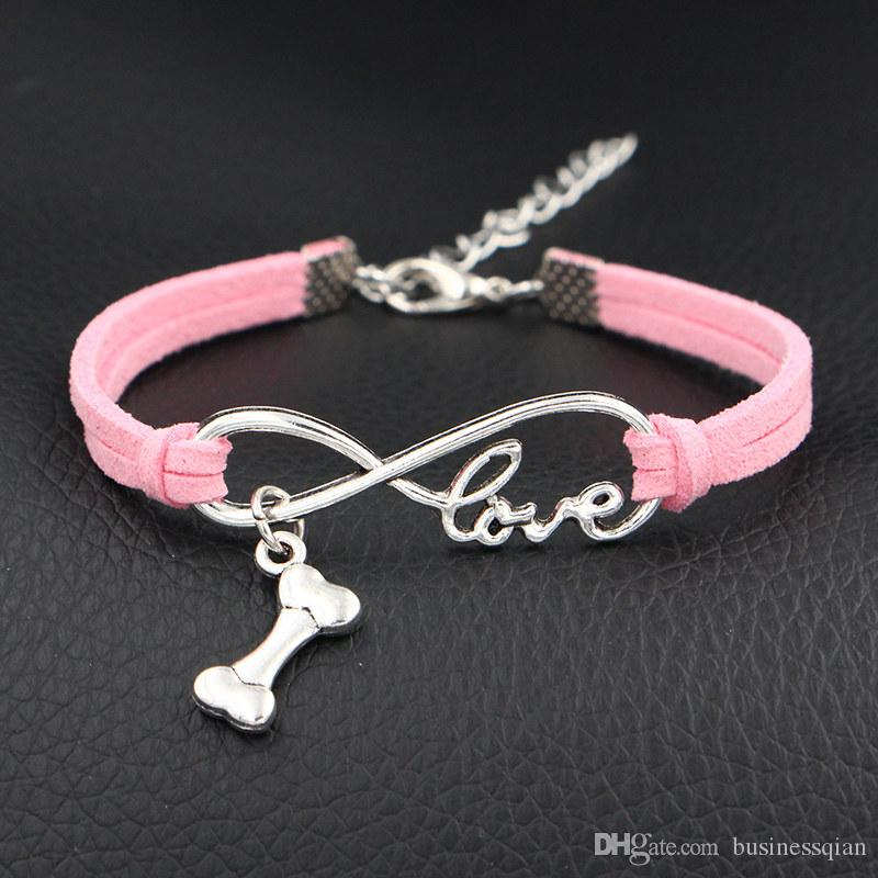 Hot Single Layer Pink Leather Suede Bracelets Silver Alloy Infinity Love Dog Bone Men Friendship Bangles For Women Jewelry Gift Spring Style