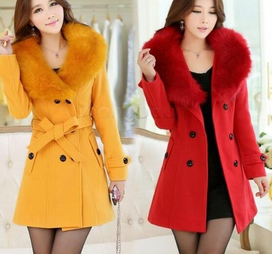 e0a80a7fd womens fur collar Double Breasted Wool Coat long Winter Jackets parka coats  Outerwear for lady M,L,XL,XXL,XXXL 35