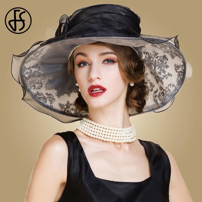 07a1c756b FS Black White Organza Hats Women Large Wide Brim Vintage Flower Female  Fedora Rhinestone Wedding Dress Kentucky Derby Hat D19011103