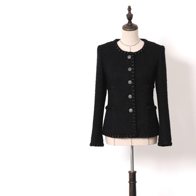 56ec1780d Women tweed jacket brief single breasted black ekegant jackets new 2018  winter office lady wear woolen outerwear