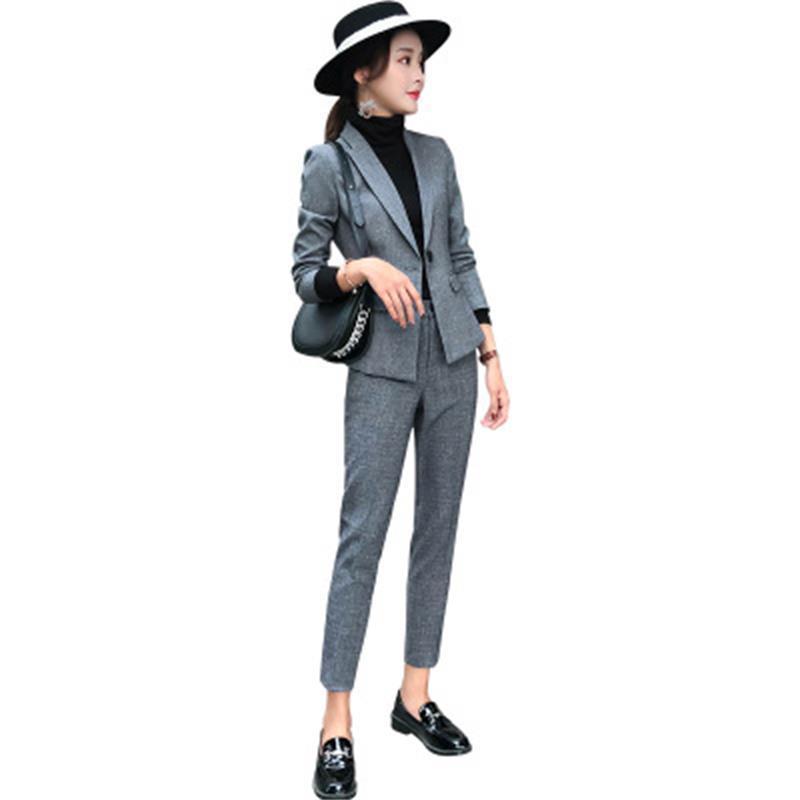 Professionnelle Longues Mode Gris Costume Pantalon Robe À Tempérament Pieds Printemps Femme Haute Manches De Nouvelle Qualité Deux Pk8N0OnwX